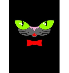 Green cat eyes and a red bow tie muzzle your pet vector