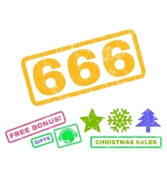 666 rubber stamp vector