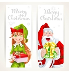 Santa claus and elf with gift on two vertical vector
