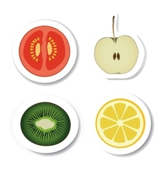 vegetable and fruit stickers vector image