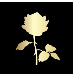Golden silhouette of rose vector