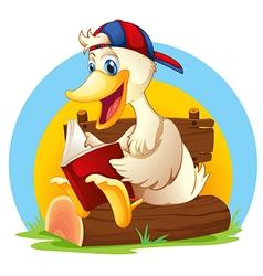 A happy duck reading vector image
