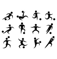 abstract soccer players icons vector image vector image
