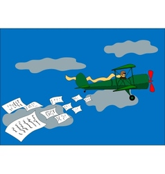 aircraft dropped leaflets vector image vector image