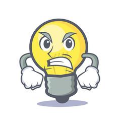 Angry light bulb character cartoon vector