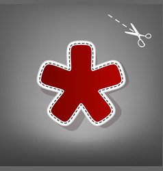 Asterisk star sign red icon with for vector