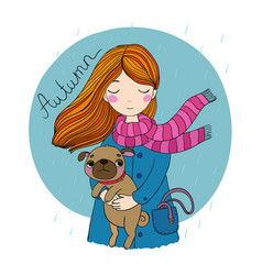 Beautiful cartoon girl and pug vector