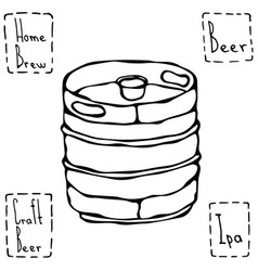 Beer metal barrel beer keg doodle style sketch vector