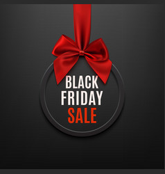 Black Friday round banner with red ribbon and bow vector image vector image