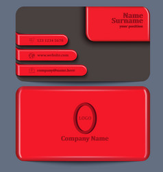 Business card with red plastic elements vector