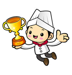 Chef character is holding a trophy isolated on vector