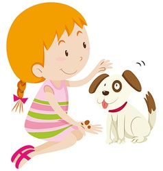 Cute girl feeding her pet dog vector