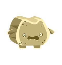 cute gray bewildered rock element cartoon vector image vector image