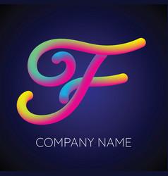 F letter logo icon blending color vector