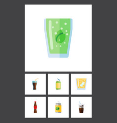 flat icon beverage set of beverage cup vector image