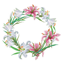Floral frame of white and pink lilies vector