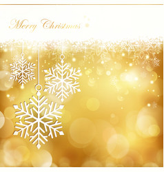 golden christmas snowflake background vector image vector image