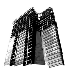 Grunge silhouette of modern building vector