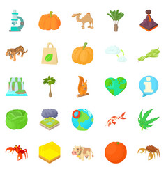 Island icons set cartoon style vector