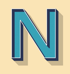 Letter n retro text style fonts concept vector