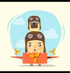 Little boy pilot and friend vector image