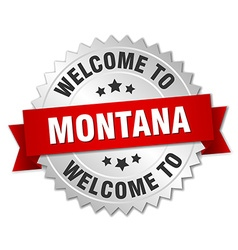 Montana 3d silver badge with red ribbon vector