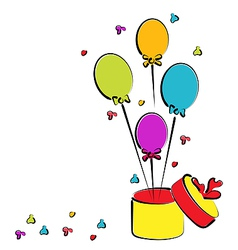 Open gift box with balloons for your birthday vector image vector image