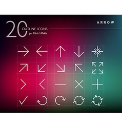 Outline style arrows icons set vector image vector image