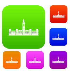 Parliament building of canada set color collection vector