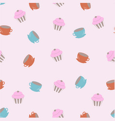 pattern with cups and cupkakes vector image