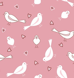 Pink and white seamless bird pattern vector