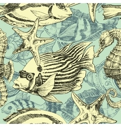 Sea pattern marine life exotic fish background vector image