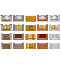 set icons fence made from wooden stone brick vector image vector image