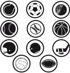 sport icons black and white vector image vector image