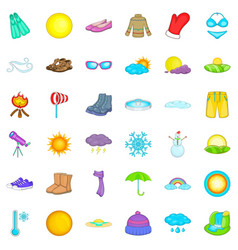 Sunny weather icons set cartoon style vector