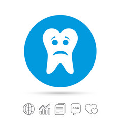 Tooth sad face sign icon aching tooth symbol vector