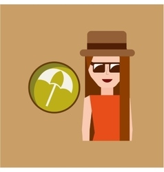 Vacation woman umbrella beach summer vector