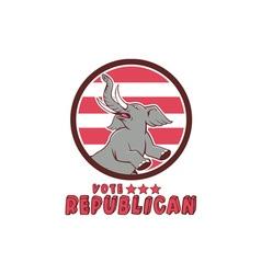 Vote republican elephant mascot circle cartoon vector