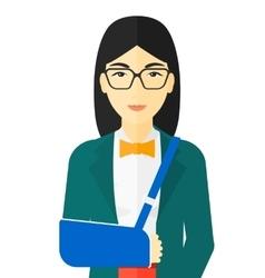 Woman with broken arm vector
