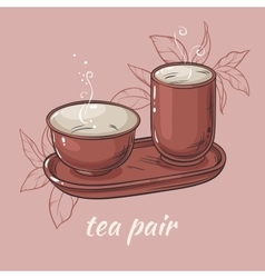 Tea pair on color background vector