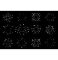 Hand drawn sunburst vintage set on dark background vector