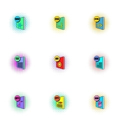 Documents icons set pop-art style vector