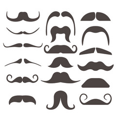 Funny fake moustaches for mouth mask vector