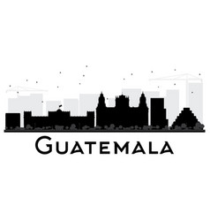 Guatemala city skyline black and white silhouette vector