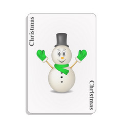 playing card with smiling snowman and christmas vector image