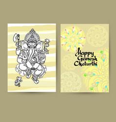 Hindu god ganesha cards handwritten words happy vector