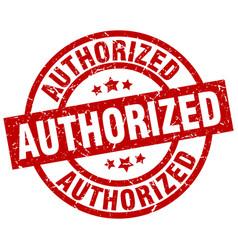Authorized round red grunge stamp vector