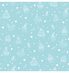 Seamless pattern with cupcakes teacups chocolates vector image