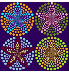 4 abstract flowers made of dots vector