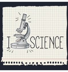 Hand drawn science laboratory microscope icon vector